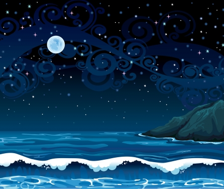 horizon over water: Night seascape with waves, island and full moon on a starry sky background