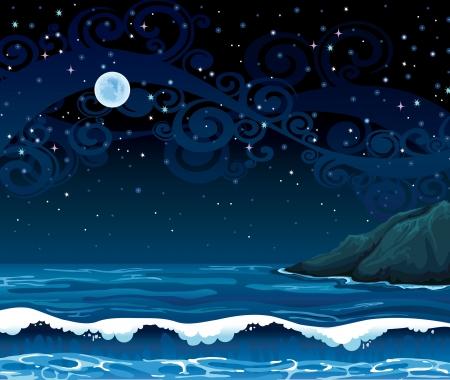 cielo estrellado: Noche Paisaje marino con olas, la isla y la luna llena sobre un fondo de cielo estrellado Vectores