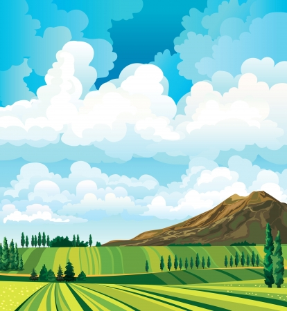 clouds  garden: Summer landscape with green meadow, cypress, mountain and group of clouds on a blue sky background