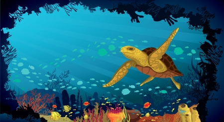 Underwater life - Coral reef with fish and big turtle on a blue sea background Vector