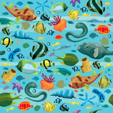 puffer: Blue sea pattern with colorful fish - moray eel, puffer, sea star, shell, sea anemones  Seamless