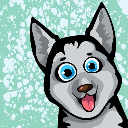 husky puppy: Cartoon funny dog (husky) with blue eyes on a spotted background