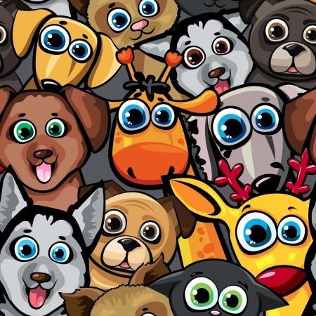 perro caricatura: Patr�n de los animales sin fisuras con Caroon perros divertidos, gato, ciervo y la jirafa