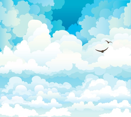 Group of vector cumulus clouds on a blue sky background with two flying birds