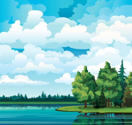 Green summer landscape with trees near the lake, forest and group of cumulus clouds on a blue sky