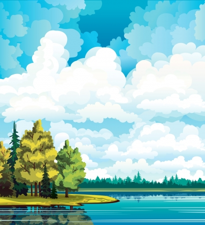 autumn scene: Autumn landscape with yellow and green trees near the lake and group of white cumulus clouds on a blue sky Illustration