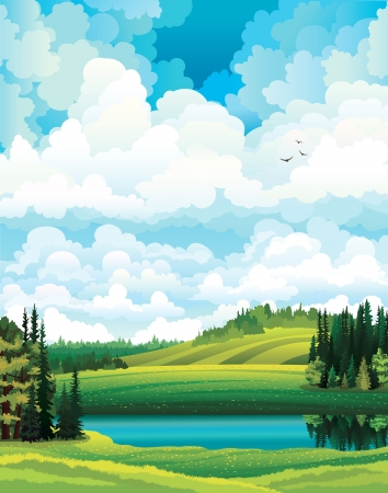 hilly: Green vector summer landscape with forest, river and hill on a cloudy sky background