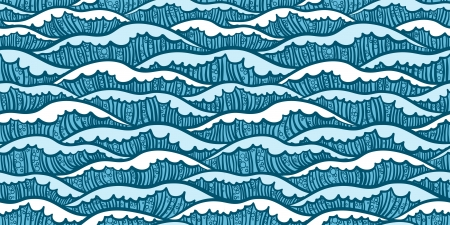 Seamless sea pattern with white waves and small bubbles Vector