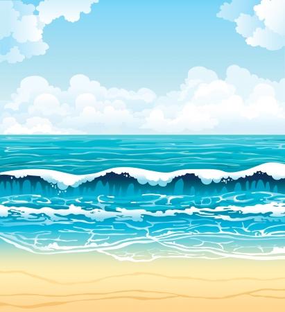 Paisaje de verano vector - el mar turquesa con olas y la playa de arena en un cielo azul con nubes blancas