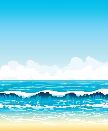 tranquil scene: Summer vector landscape - turquoise sea with waves and sandy beach on a blue sky with white clouds