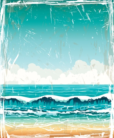 tranquil scene: Grunge vector landscape - turquoise sea with waves and sandy beach on a blue sky with white clouds