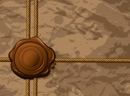 waxseal: Vector wax seal with laces on a brown grunge paper background Illustration