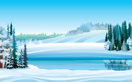 Vector winter landscape with frozen lake, forest and hills on a blue sky background