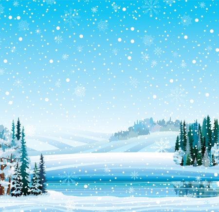 Vector winter landscape with frozen lake, forest, hill and snowfall