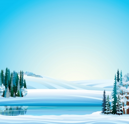 Vector winter landscape. Frozen river, forest and hills on a blue sky background.
