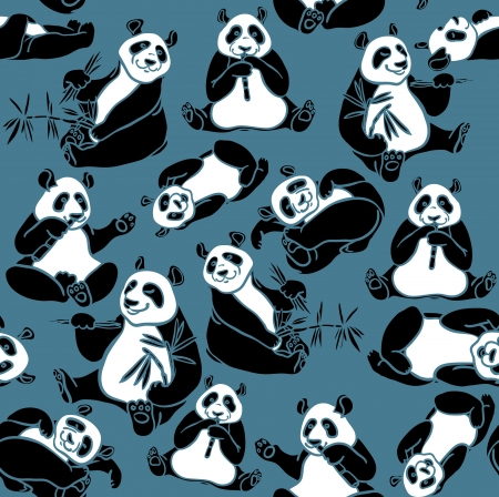 panda bear: Set of cartoon funny panda on a blue background  seamless animal pattern