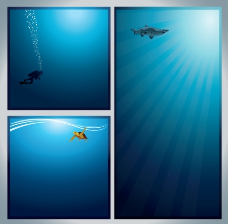 Set of underwater live image - diver with bubbles, turtle with waves and shark Vector