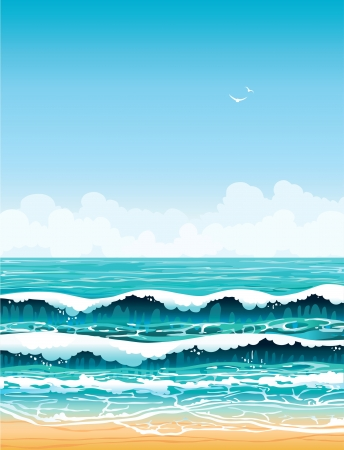 sandy: Summer landscape - turquoise sea with waves and sandy beach on a blue sky with white clouds and birds