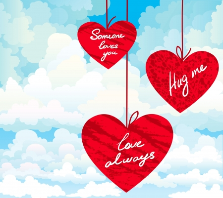 Three red heart with wishes on a cloudy sky background  Vector