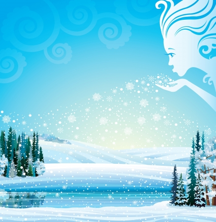 Winter-Girl blows snowflakes in the trees, fields and a lake  Vector magical winter landscape  Stock Vector - 17078715