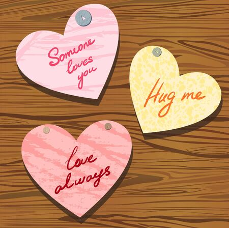 Group of valentine with wishes on a wood brown background  Vector