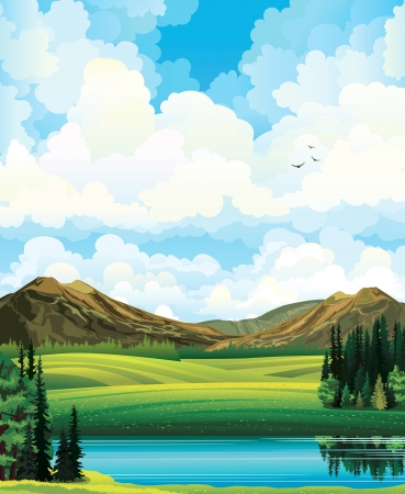 mountain view: summer landscape with green flowering field, forest, mountains and lake on a blue cloudy sky backgound.