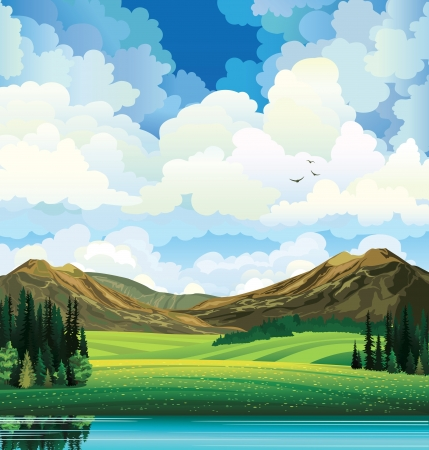 mountain view: summer landscape with green flowering field, forest, mountains and lake on a blue cloudy sky backgound with birds. Illustration