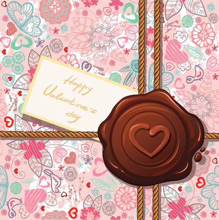 romance image: Wax seal with heart and note on a pink flower background. Card Valentines day.