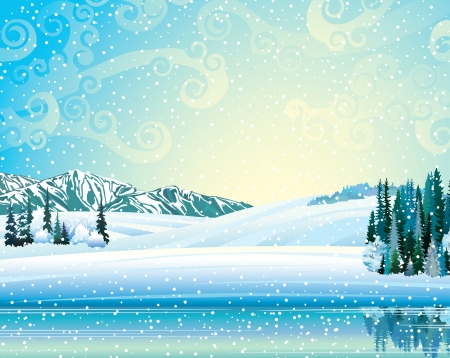 Vector paisaje de invierno con bosque congelado, lago y montañas en un fondo nevadas.