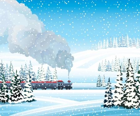 Antiguo tren de humo gris y el paisaje de invierno con bosque congelado sobre un fondo de cielo azul. Foto de archivo - 17312682