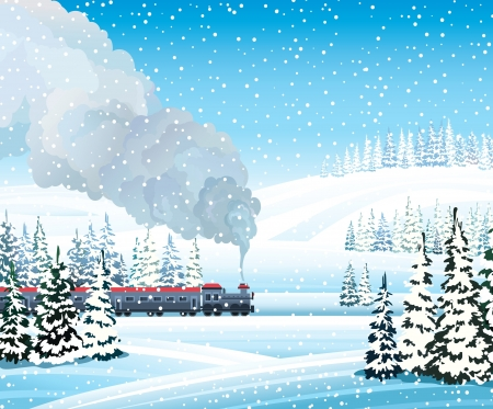 snow drifts: Old train with gray smoke and winter landscape with frozen forest on a blue sky background. Illustration