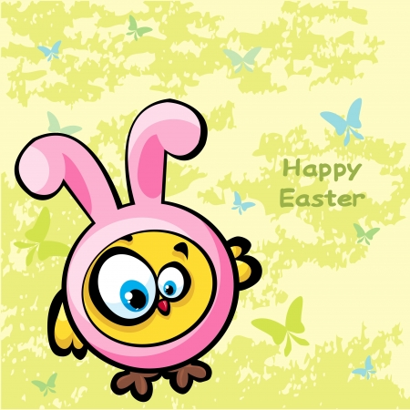 Funny yellow chicken looks like a bunny on a green background  Easter vector card  Vector