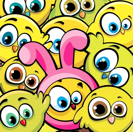 overcrowding: Funny cartoon yellow birds and chicken looks like a pink bunny  Easter vector background