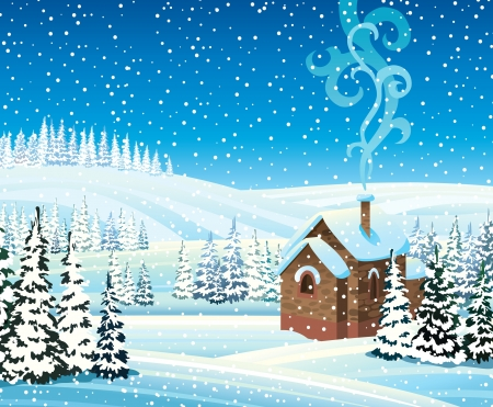 Winter landscape with hills, frozen forest, house and snowfall Vector