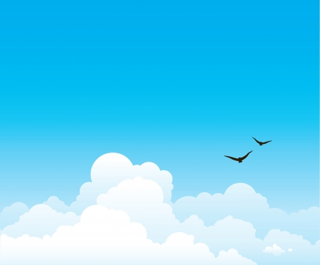 Group of cumulus clouds on a blue sky background with flying birds  Vector nature landscape