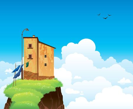 beautifull: Natural summer landscape - old residential building standing on the cliff with green grass on a blue sky background  Illustration