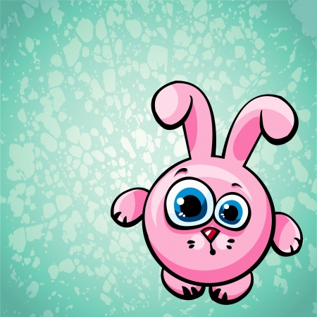 animal eyes: Funny cartoon pink bunny with big blue eyes on a green background