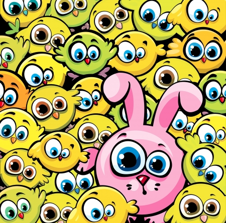 Vector wallpaper with cartoon funny yellow chickens and pink bunny