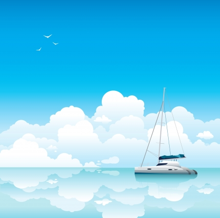 Calm sea with white yacht on a blue sky with clouds Stock Vector - 17968982