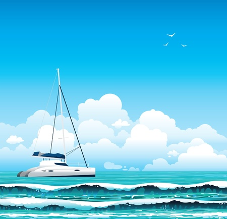 rest day: White yacht and sea with waves on a blue sky with clouds. Seascape. Illustration