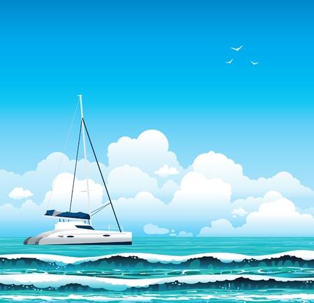 paloma de la paz: Yate blanco y el mar con olas en un cielo azul con nubes. Seascape.