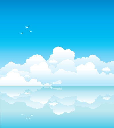 Seascape - white clouds with birds and calm sea Stock Vector - 17968981