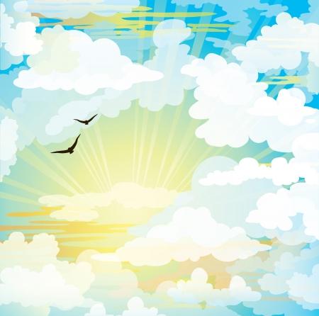 Flyinf black birds on a sunset cloudy sky  Stock Vector - 18019161