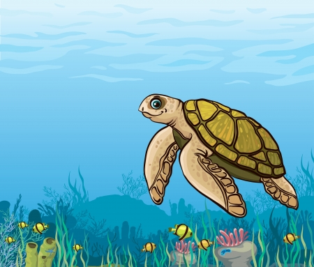 sea turtle: Funny cartoon sea turtle and coral reef with yellow fish  Underwater life  Illustration