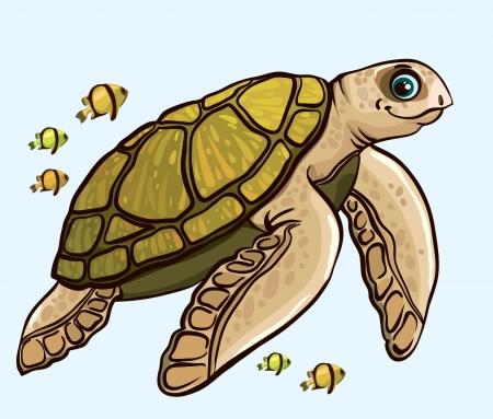 schildkr�te: Cartoon funny Meeresschildkr�te mit gelben Fisch Illustration