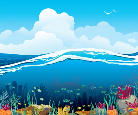 below: Nature vector seascape with underwater creatures and blue cloudy sky over surface Illustration
