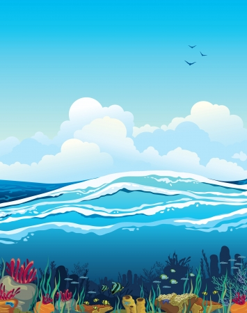 Nature vector seascape with underwater creatures and blue cloudy sky over surface Vector