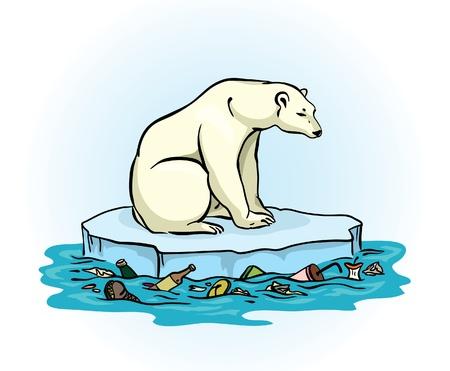contaminacion ambiental: Oso polar sentado en un hielo que se derrite en medio de un problema de contaminación del mar contaminado Global