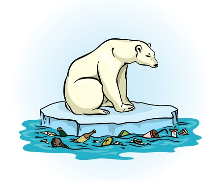 floe: Polar bear sitting on a melting ice in a midst of polluted sea  Global pollution problem  Illustration