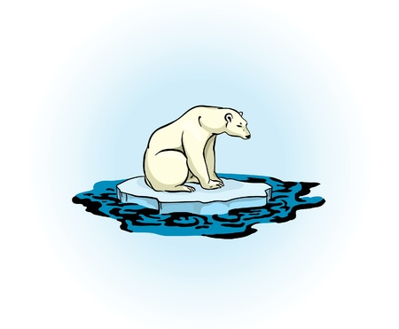 polar environment: Polar bear sitting on a melting ice in a midst of polluted sea  Global pollution problem  Illustration